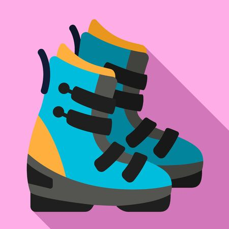 Ski boots icon. Flat illustration of ski boots vector icon for web design