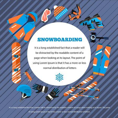 Snowboarding concept background. Flat illustration of snowboarding vector concept background for web design