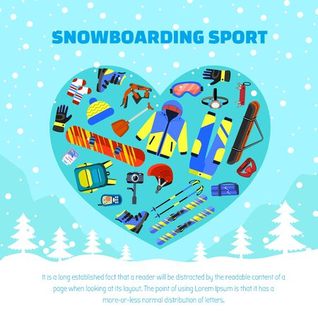Snowboarding sport concept background. Flat illustration of snowboarding sport vector concept background for web design  イラスト・ベクター素材