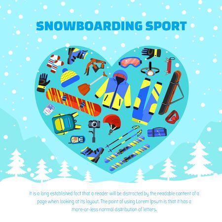 Snowboarding sport concept background. Flat illustration of snowboarding sport vector concept background for web design Illustration