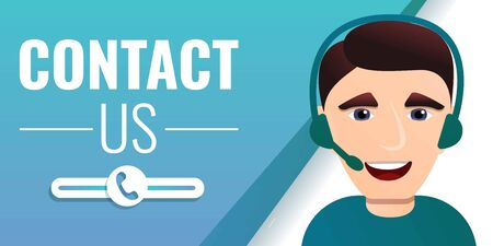 Contact us concept banner. Cartoon illustration of contact us vector concept banner for web design