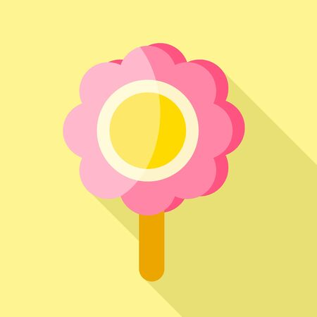 Pink flower ice lolly icon. Flat illustration of pink flower ice lolly vector icon for web design