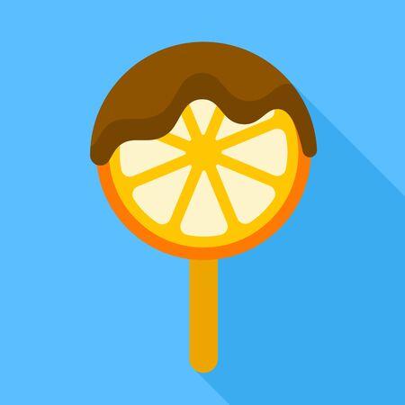 Orange piece ice lolly icon. Flat illustration of orange piece ice lolly vector icon for web design