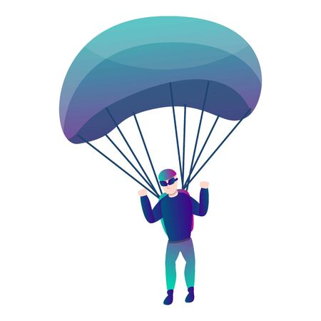 Modern skydiver with parachute icon. Cartoon of modern skydiver with parachute vector icon for web design isolated on white background