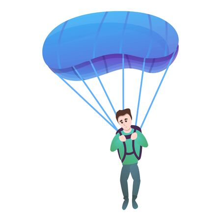 Young boy with parachute icon. Cartoon of young boy with parachute vector icon for web design isolated on white background