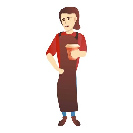Woman coffee maker icon. Cartoon of woman coffee maker vector icon for web design isolated on white background
