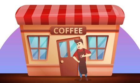 Street coffee shop concept banner. Cartoon illustration of street coffee shop vector concept banner for web design