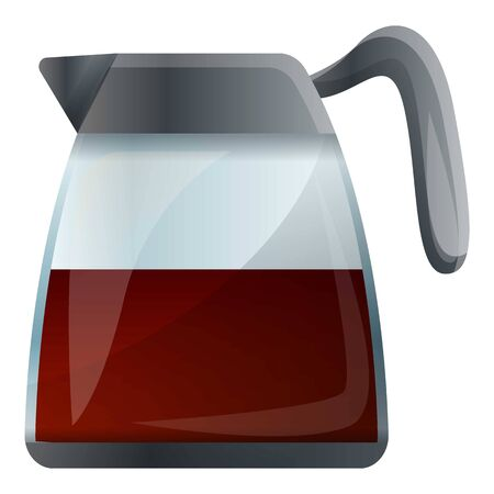 Coffee glass kettle icon. Cartoon of coffee glass kettle vector icon for web design isolated on white background