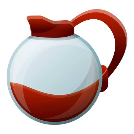 Round coffee pot icon. Cartoon of round coffee pot vector icon for web design isolated on white background Illustration