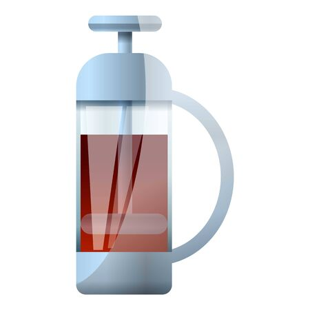 Tea glass press icon. Cartoon of tea glass press vector icon for web design isolated on white background Illustration
