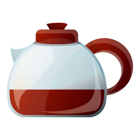 Glass hot coffee pot icon. Cartoon of glass hot coffee pot vector icon for web design isolated on white background