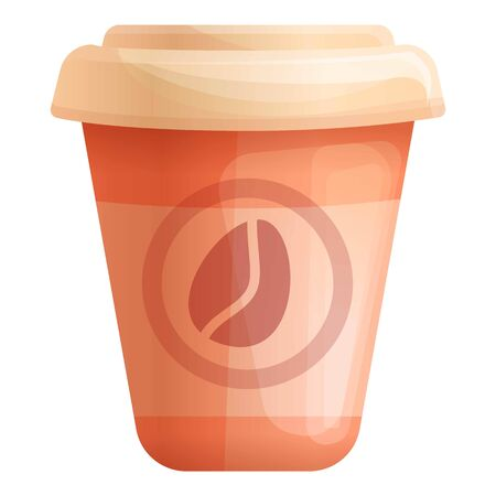 Paper coffee cup icon. Cartoon of paper coffee cup vector icon for web design isolated on white background