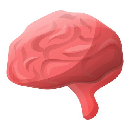 Human brain icon. Cartoon of human brain vector icon for web design isolated on white background 写真素材 - 124988186