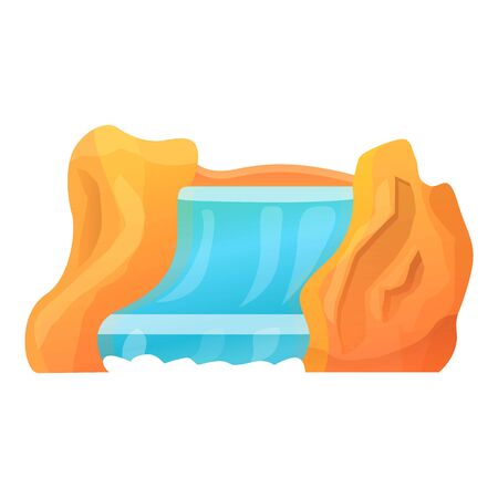 Rock waterfall icon. Cartoon of rock waterfall vector icon for web design isolated on white background