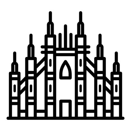 Milan gothic basilica icon. Outline Milan gothic basilica vector icon for web design isolated on white background