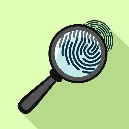 Fingerprint under magnifying glass icon. Flat illustration of fingerprint under magnifying glass vector icon for web design  イラスト・ベクター素材
