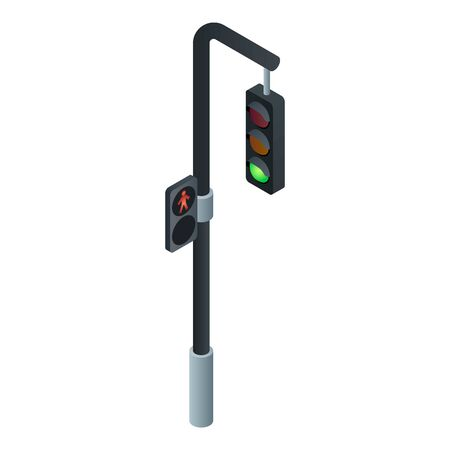Urban traffic lights icon. Isometric of urban traffic lights vector icon for web design isolated on white background