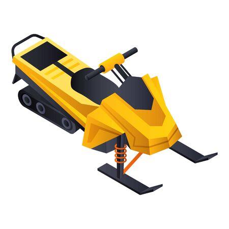 Icône de motoneige jaune. Isométrique de l'icône vecteur motoneige jaune pour la conception web isolé sur fond blanc