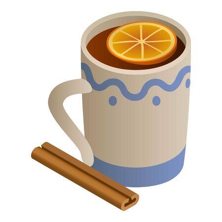 Mug mulled wine icon. Isometric of mug mulled wine vector icon for web design isolated on white background 向量圖像