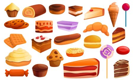 Confectionery icons set. Cartoon set of confectionery vector icons for web design