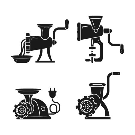 Meat grinder icons set. Simple set of meat grinder vector icons for web design on white background