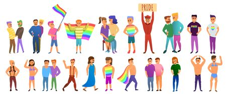 Transgender people icons set. Cartoon set of transgender people vector icons for web design