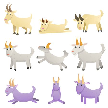 Goat icons set. Cartoon set of goat vector icons for web design