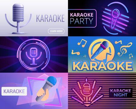 Karaoke music banner set. Cartoon illustration of karaoke music vector banner set for web design