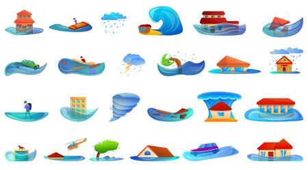 Conjunto de iconos de inundación. Conjunto de dibujos animados de iconos de vector de inundación para diseño web