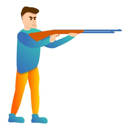 Man shotgun sport shooting icon. Cartoon of man shotgun sport shooting vector icon for web design isolated on white background