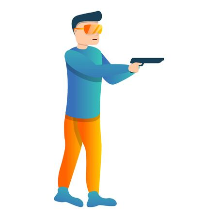 Police pistol shooting icon. Cartoon of police pistol shooting vector icon for web design isolated on white background