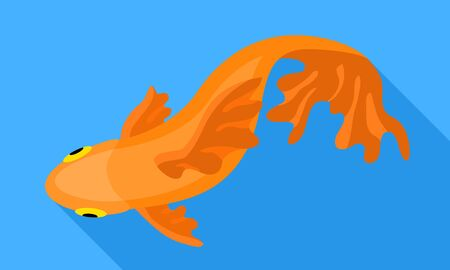 Top view gold fish icon. Flat illustration of top view gold fish vector icon for web design Illustration