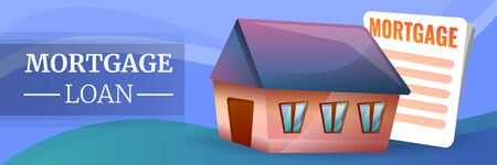 Banner de concepto de préstamo hipotecario. Ilustración de dibujos animados de banner de concepto de vector de préstamo hipotecario para diseño web Ilustración de vector