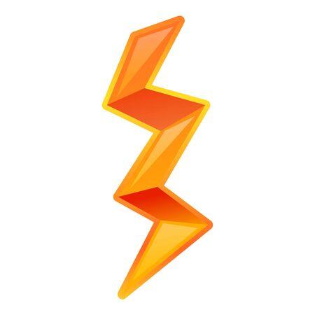 주황색 번개 아이콘입니다. 흰색 배경에 고립 된 웹 디자인을 위한 오렌지 번개 벡터 아이콘의 만화 벡터 (일러스트)