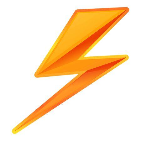 Icono de rayo en zigzag. Caricatura de rayo en zigzag icono vectoriales para diseño web aislado sobre fondo blanco. Ilustración de vector