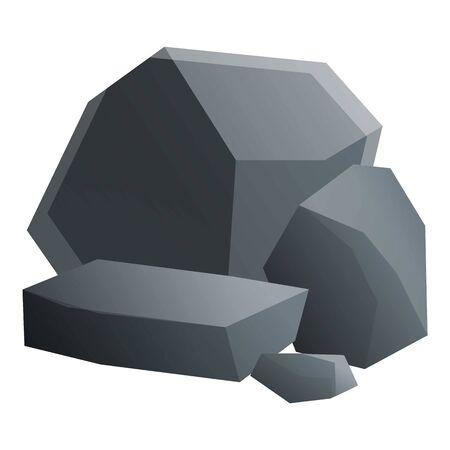 Coal stones icon. Cartoon of coal stones vector icon for web design isolated on white background Ilustração Vetorial