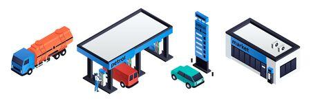 Petrol station icons set. Isometric set of petrol station vector icons for web design isolated on white background