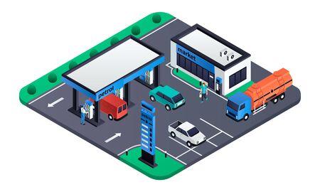 現代のガソリンスタンドのコンセプトバナー。ウェブデザインのための現代のガソリンスタンドベクトルコンセプトバナーの等角図 ベクターイラストレーション