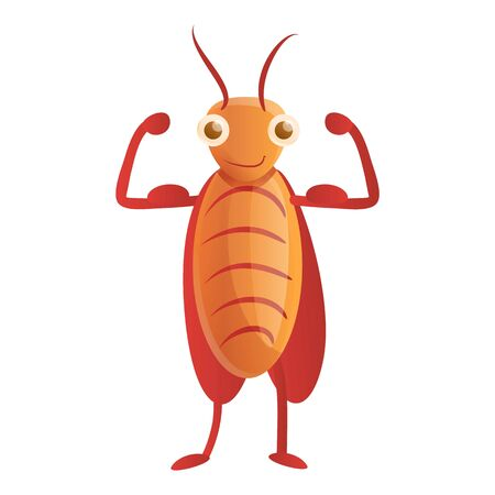 Bodybuilder cockroach icon. Cartoon of bodybuilder cockroach vector icon for web design isolated on white background Illustration