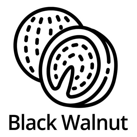 Black walnut icon. Outline black walnut icon for web design isolated on white background Banque d'images