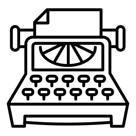 Office typewriter icon. Outline office typewriter icon for web design isolated on white background