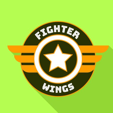 Fighter wings logo. Flat illustration of fighter wings logo for web design Banque d'images - 127181749
