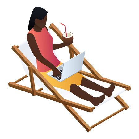 Woman at beach chair icon. Isometric of woman at beach chair icon for web design isolated on white background