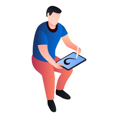 Man drawing at tablet icon. Isometric of man drawing at tablet icon for web design isolated on white background Banco de Imagens