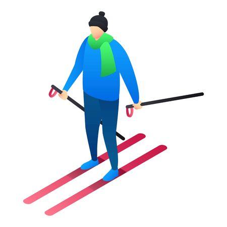 Boy skiing icon. Isometric of boy skiing icon for web design isolated on white background