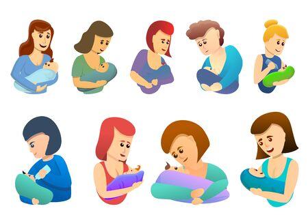 Breastfeeding icons set. Cartoon set of breastfeeding icons for web design Stock Photo