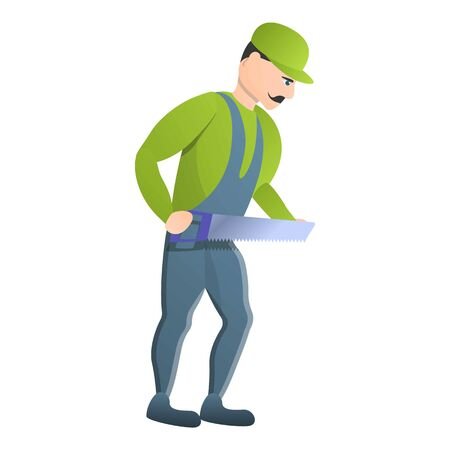 Carpenter take hand saw icon. Cartoon of carpenter take hand saw icon for web design isolated on white background Stock Photo