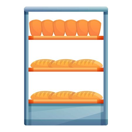 Fresh bread on shelf icon. Cartoon of fresh bread on shelf icon for web design isolated on white background