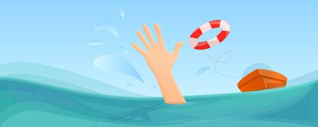 Swimming take help life buoy concept banner. Cartoon illustration of swimming take help life buoy concept banner for web design