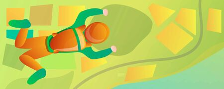 Freefall skydiver in green field concept banner. Cartoon illustration of freefall skydiver in green field concept banner for web design